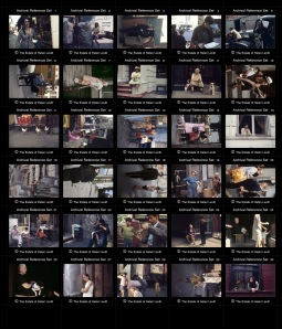 Reproduction contact sheet for Projects: Helen Levitt in Color made from a variety of image media prepared for lvt output.